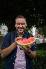 Sam got a watermelon for lunch at the Hackescher Markt!